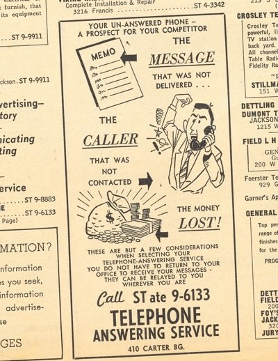 1956 vintage yellow pages answering service ambs call center