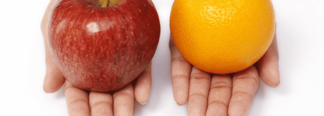 compare apples and oranges The idiom is not unique in quebec french, it may take the form comparer des pommes avec des oranges (to compare apples and oranges), while in european french the idiom says comparer des pommes et des poires (to compare apples and pears.